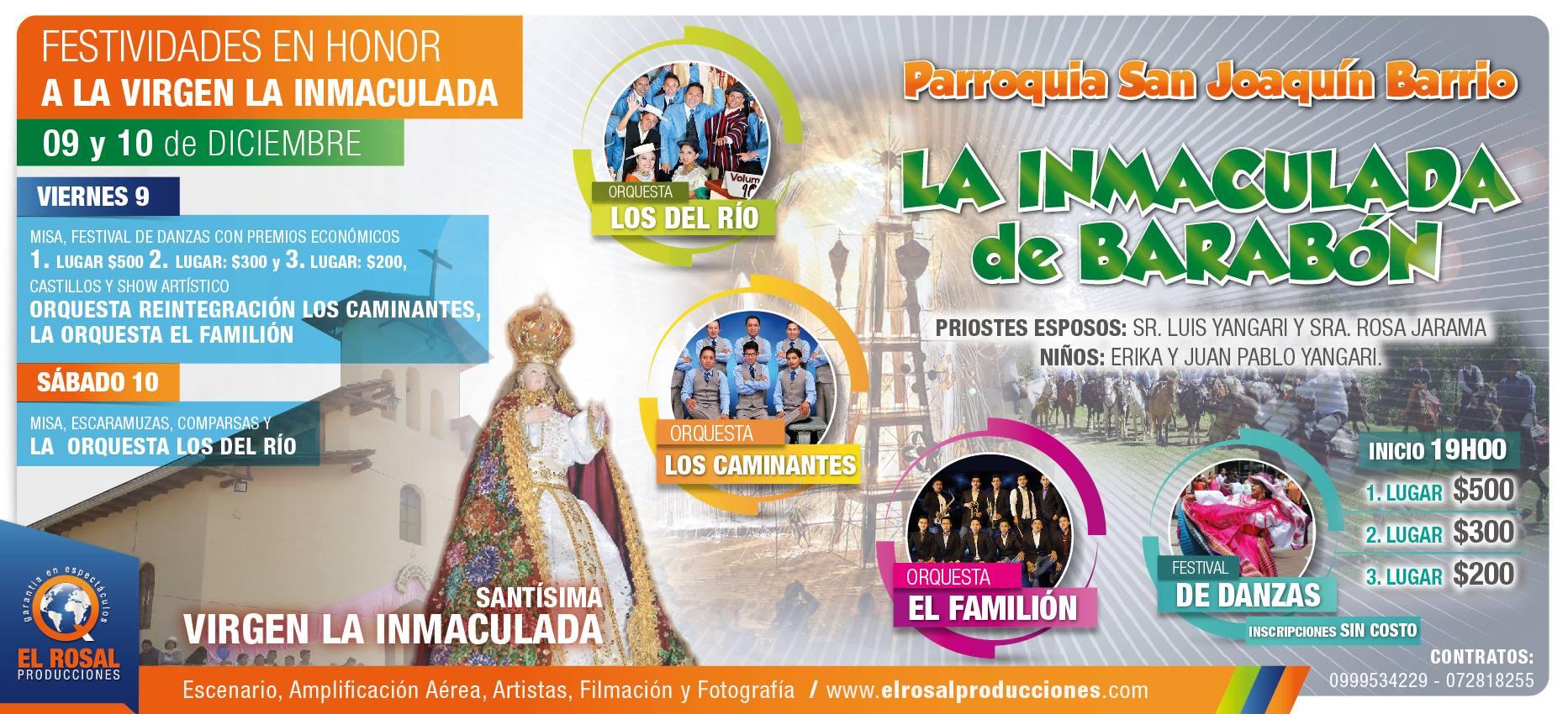 Festividades en Honor a la Virgen La Inmaculada